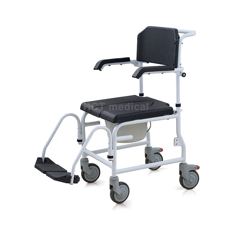 HCT Medical Commode and Shower Chair with Footrests HCT-3002 Commode Toilet Chair image34