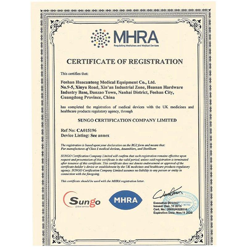 MHRA certificate of registration