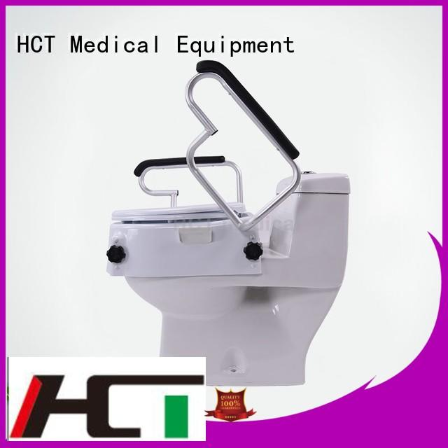 6″ 4 inch handrails lid raised toilet seat HCT Medical