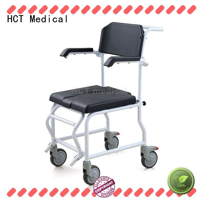HCT Medical mobile wheeled portable commode chair wholesale for hospital