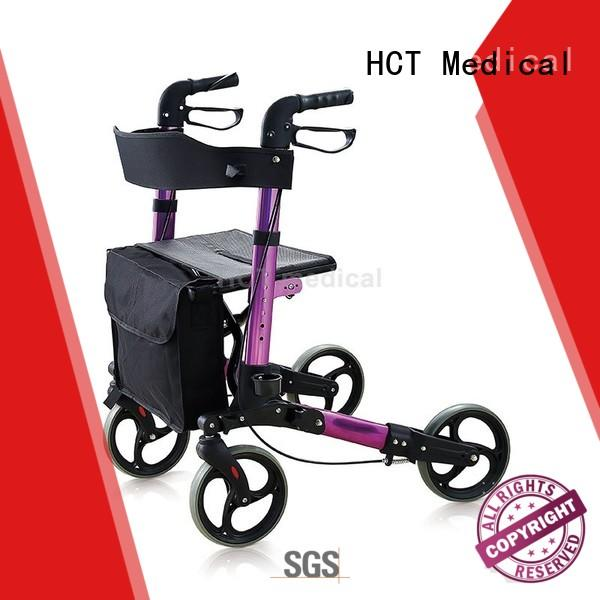 foldable lightweight folding rollator with seat and backrest in bulk for elderly