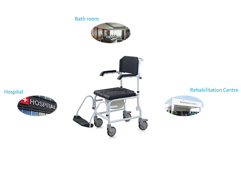 Custom wheeled commode toilet chair shower commode chair for sale